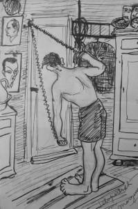 Svømning - Selvportræt om morgenen - tegning Johs B Torbensen