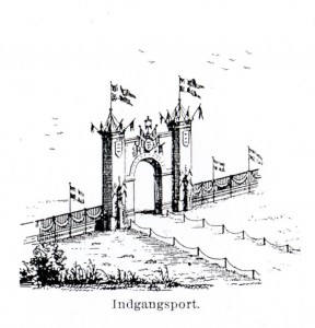 Horsensfesten 1869 - Indgangsporten til festpladsen. Illustration fra bogen SKYTTESAGEN I DANMARK GENNEM HALVTREDSINDTYVE AAR 1861-1911 af L. F. C. Krogh