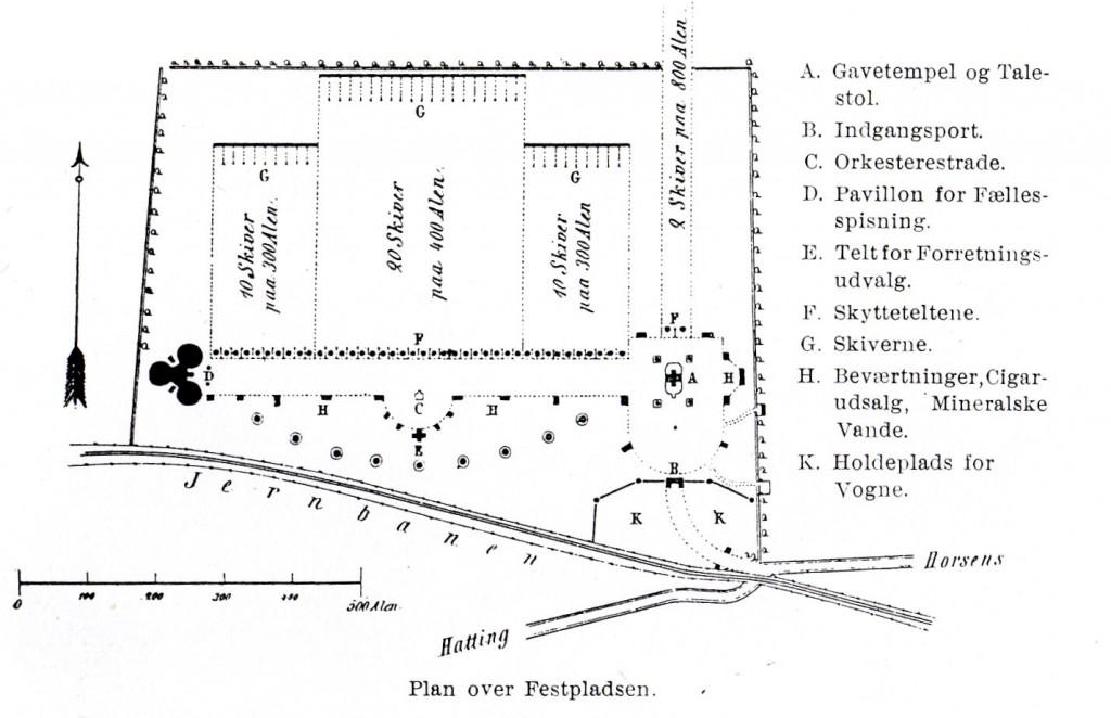 Horsensfesten 1869 - Plan over festpladsen. Illustration fra bogen SKYTTESAGEN I DANMARK GENNEM HALVTREDSINDSTYVE AAR 1861-1911 af L. F. C. Krogh